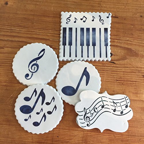 dise/ño de Notas Musicales versi/ón Corta Color Beige//Semitransparente Designer Stencils c158t Cake