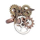Fenteer Steampunk Ring mit Zahnrädern Tibetanische Ringe Gothic Punk Fingerring Antik Schmuck für Karneval Fasching Halloween Schmuck - Bronze 2 #