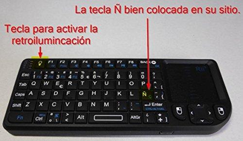 Rii Mini Teclado Inalámbrico Bluetooth 2.4GHz de Rii (Diseño Español) con ratón...