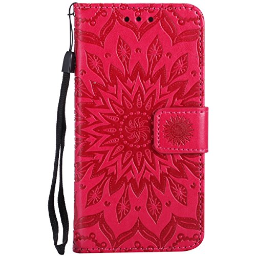 iPhone 7 Hülle,iPhone 7 2016 Schutzhülle,JAWSEU Retro Cool Lanyard/Strap Bookstyle Prägung Tribal Elefant Muster Pu Ledertasche Magnetverschluss Handyhülle Wallet Brieftasche Etui Case Cover mit[Ständ Flower,Rot