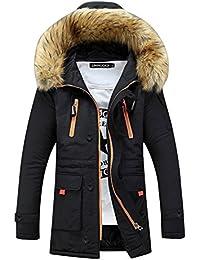 SaiDeng Hombres Jacket Invierno Chaqueta Con Capucha El Color Uni Prácticos Bolsillos Negro XS