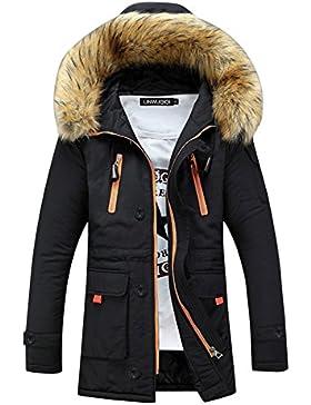 SaiDeng Hombres Jacket Invierno Chaqueta Con Capucha El Color Uni Prácticos Bolsillos Negro L