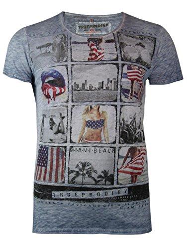 trueprodigy Casual Herren Marken T-Shirt mit Aufdruck, Oberteil cool und stylisch mit V-Ausschnitt (kurzarm & Slim Fit), Shirt für Männer bedruckt Farbe: Blau 1062109-4014 Ombre Blue