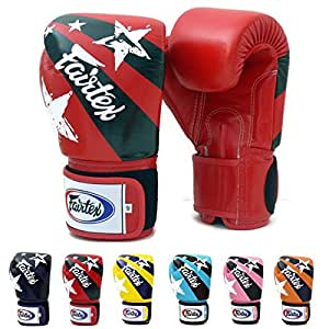Fairtex Muay Thai Gants De Boxe BGV1 Limited eidtion Nation Print - Red Size : 10 12 14 16 oz. Training & Sparring Gloves for Kick Boxing MMA K1 (Red, 10 oz)