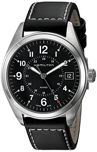 HAMILTON MEN'S 40MM BLACK LEATHER BAND STEEL CASE QUARTZ WATCH H68551733