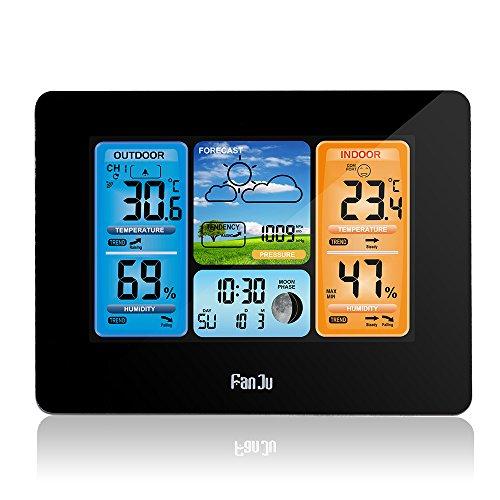 ONEVER Digital Forecast Clock Vorhersage Wetterstation mit Alarm und Temperatur/Feuchtigkeit / Barometer/Alarm / Mondphase/Wetter Uhr mit Außensensor, Schwarze Farbe