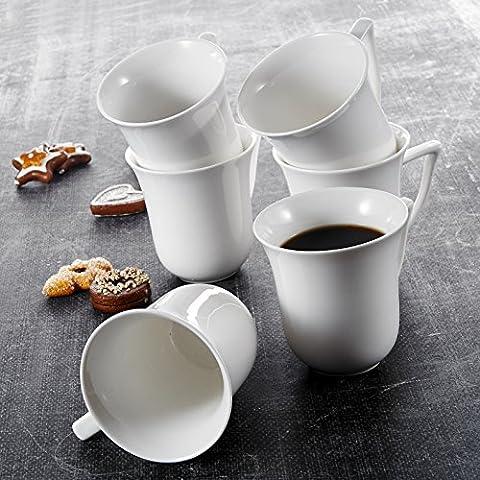 Malacasa, Serie Carina, 6 Teiligen Set Kaffeeservice Cremeweiß Porzellan Kaffeetasse Tassen 4,75 Zoll / 12*9,5*10cm / 290ml Becher Teetasse Kaffeebecher-Set Bechersets für 6 Personen