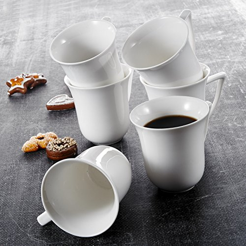 Malacasa, Serie Carina, 6 Teiligen Set Kaffeeservice Cremeweiß Porzellan Kaffeetasse Tassen 4,75...
