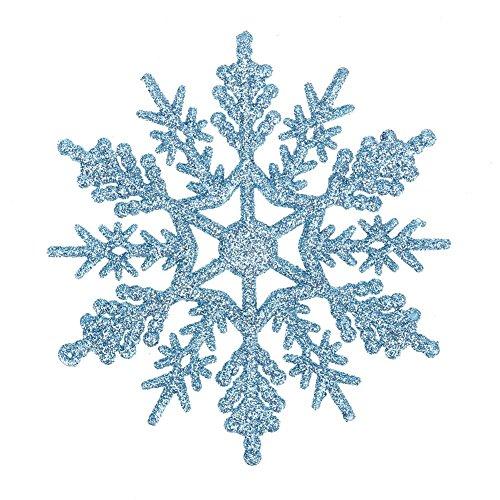 Demiawaking 24pcs Fiocchi di Neve Decorazione dell'Albero di Natale 10cm Fiocco di Neve di Glitter di Plastica Ornamenti Festivi Festa Party Decorazione Domestica (Azzurro)