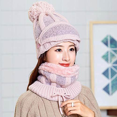 ZLULU Mütze Hüte Womens Winter Mütze Mütze Kragen Masken Set Outdoor Ski Warm Slouchy Strickmütze Abnehmbar