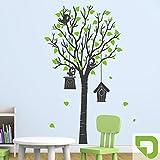 DESIGNSCAPE® Wandtattoo Baum mit Vogelhäusern, Vögeln und Blättern 48 x 90 cm (Breite x Höhe) Farbe 1: lindgrün DW808082-S-F16