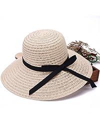 Qiao Nai Sombrero de Visera de Verano Sombrero de Aleros Grandes Dama de la  Moda Mariposa d8773f3d640