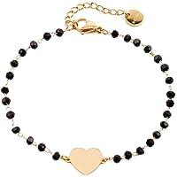 Bracciale in cristallo nero da donna, bracciale a catena in acciaio inossidabile placcato in oro rosa con ciondolo a…