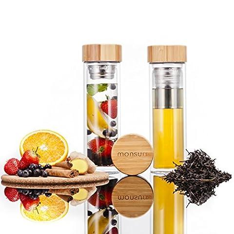 Monsuri theiere en verre double paroi pour thé et bouteille à infusion pour fruit avec un couvercle en bois de bambou, manche en néoprène protecteur et filtre 2 en 1 amovible en acier inoxydable. Récipient de 450ml, rechargeable, portable, compact pour des feuilles de thé, des infusions de fruits, detox water, des huiles essentielles, du thé glacé, du café, des smoothie ou des recettes de désintoxication