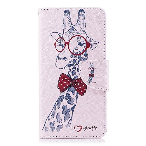 Huawei P9 Lite Mini / Y6 Pro 2017 Hülle, Chreey Bunt Gemalt Magnetverschluss Flip Wallet Handyhülle PU Lederhülle Bookstyle Brieftasche Kreditkarte Etui Schutzhülle [Herr Giraffe]