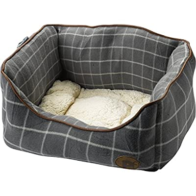 Petface Grey Window Pane Check Dog Bed Puppy Basket with Faux Sheepskin Cushion (Various Sizes)