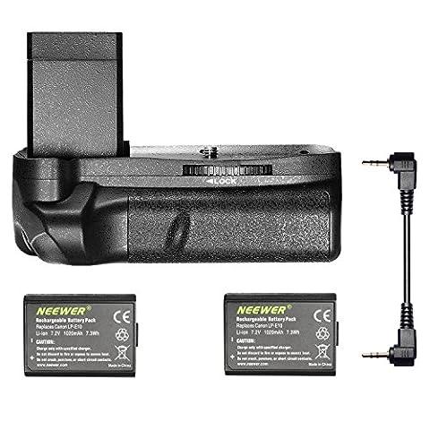 Neewer Grip Poignée d'Alimentation pour Canon EOS Rebel T3 T6/EOS 1100D 1300D + 2x LP-E10 Batterie de Remplacement Secours Externe (1020mAh) Lithium-ion pour Canon EOS Rebel T3 T6 1100D 1300D BAISER Caméra Numérique X50
