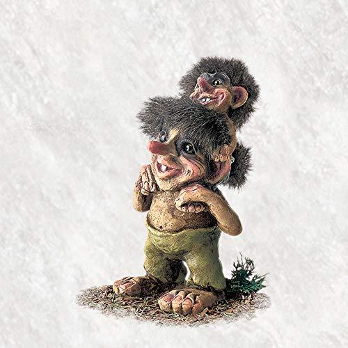 Original NORWEGISCHE Trolle * NyForm Troll mit Zertifikat 178 * Troll mit Trollkind 20cm
