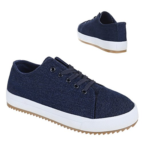 Scarpe Da Donna, Ac-21, Scarpe Casual Sneakers Stringate Blu