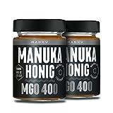 Manuka Honig 400+ MGO im hochwertigen Glas - Direkt vom Imker aus Neuseeland - zertifizierter Methylglyoxal-Gehalt (2x250g) - inklusive GRATIS Manuka Guide