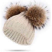 BLACK ELL Sombrero de señora, Gorro de algodón para niños de Punto para niños Gorras de Piel de Mapache pompón cálido y Confortable bo, 1