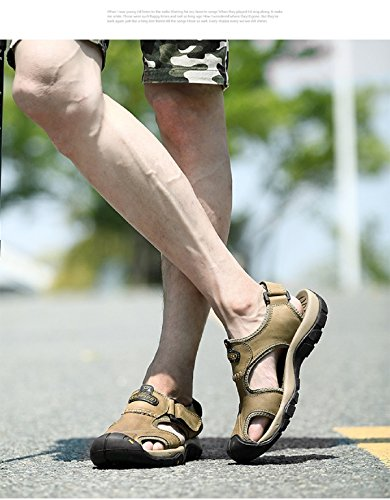 Sandali T-gold Da Uomo Sport E Outdoor Sandali In Pelle Chiusi Beach Trekking Comodi Scarpe Da Fitness Traspiranti Khaki (1)