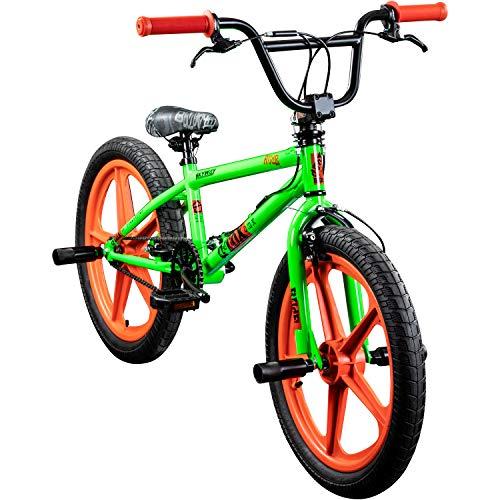 deTOX BMX 20 Zoll Rude Skyway Freestyle Bike Street Park Fahrrad viele Farben (grün/orange)