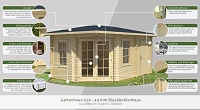 Gartenhaus G70 inkl. Fußboden - 44 mm Blockbohlenhaus, Nutzfläche: 11,90 m², Zeltdach von Steiner Shopping Gartenhäuser bei Du und dein Garten