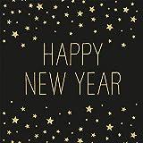 Miss Lovely Silvester-Servietten Happy New Year in schwarz & Gold mit Sternen - 33x 33cm - Silvester-Deko/Tisch-Dekoration Silvester/Neujahr/Silvester-Party Tisch-Dekoration 40 Servietten