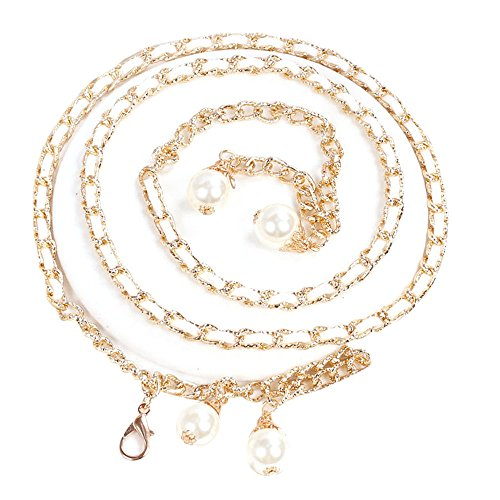 SO-buts Körperkette Gürtel für Damen,Mode Freizeit Sport MetallGürtel,110 cm,Perle Quasten Taille Kettenband mit Einem Rock (Weiß)