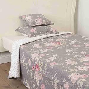 clayre eef tagesdecke plaid quilt decke graue rosen 230 x 260 cm k che. Black Bedroom Furniture Sets. Home Design Ideas