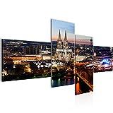 prestigeart Bilder Stadt Köln Wandbild 200 x 100 cm Vlies - Leinwand Bild XXL Format Wandbilder Wohnzimmer Wohnung Deko Kunstdrucke Blau 4 Teilig -100% Made in Germany - Fertig Zum Aufhängen 601541a