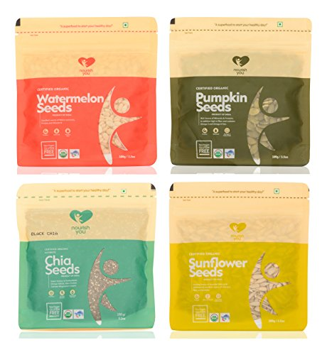 nourish you Pumpkin Seeds, Sunflower Seeds, Watermelon Seeds and Chia Seeds (Combo of 4)  available at amazon for Rs.570