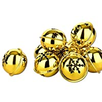 Pack of 10Beautiful Christmas Bells- Bells for Christmas -35mm, Gold-Coloured, 35 mm
