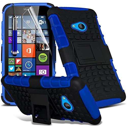 (blau) Microsoft Lumia 640 hülle Hochwertige starke und haltbare Survivor Hard robuste Stoßfest Heavy Duty bei zurück Stand Skin Case Cover& Screen Protector von i-Tronixs