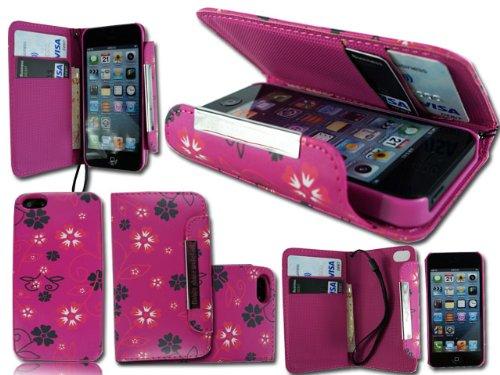 NEW unique 2en 1fleur rose à rabat pour Apple i Phone 5C Porte-cartes