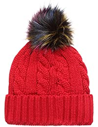 31cf9efa377 MIRMARU Winter Cable Knitted Faux Fur Multi Color Pom Pom Beanie Hat with  Soft Fur Lining