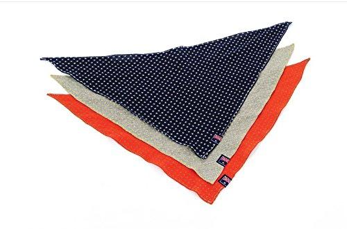 Fully 3er Set Hunde Halstuch Kopftuch Bandana Schal Hundehalsband Accessoire (Größe S (Länge 59cm), 3 Farbe (grau,blau,rot))