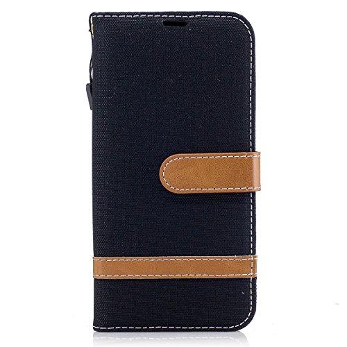 ISAKEN Galaxy J5 2017 Hülle, Canvas PU Leder Flip Cover Brieftasche Ledertasche Handyhülle Tasche Case Schutzhülle Hülle mit Handschlaufe Strap für Samsung Galaxy J5 2017 - Leinen Schwarz