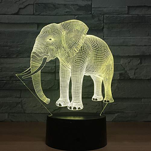 3D Nachtlicht Geburtstagsgeschenk Nachtlichter Elfenbein Elefant 3D Led Nachtlichter Neuheit Led Tierlampe 7 Bunte Wechselnde Led Touch Tischlampe -