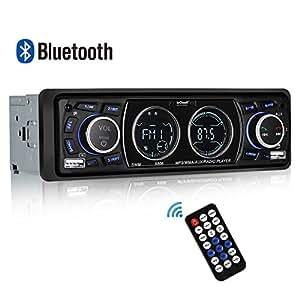 Autoradio Bluetooth Stereo Vivavoce ieGeek Ricevitore Auto Audio Stereo per Auto Radio FM Riproduttore MP3 Player USB/SD/AUX con Telecomando