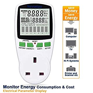 Nevsetpo Power Meter UK Plug Energy Monitor Power Consumption Electricity Usage Monitor Cost Meter Calculator Watt Voltage Amp Meter with Overload Protection (Upgraded)