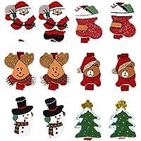 12pcs Carino Pattern Di Natale In Legno Clip Clothespins