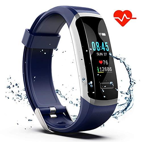 Akuti Pulsera Inteligente de Actividad HR,S1 Pulsera Deporte con Monitor de Frecuencia Cardíaca, Monitor de Sueño, Contador de Pasos y Calorías,Pedómetro Impermeable IPX7 para Niños,Mujeres y Hombres