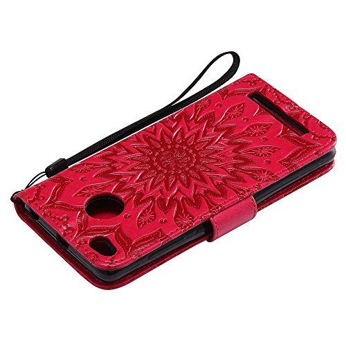 Für Xiaomi Hongmi 3 Fall, Prägen Sonnenblume Magnetische Muster Premium Weiche PU Leder Brieftasche Stand Case Cover mit Lanyard & Halter & Card Slots ( Color : Rose Gold ) Red