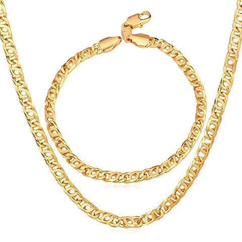 U7pour homme Plaqué or 18K Chaîne et bracelet Ensemble de bijoux