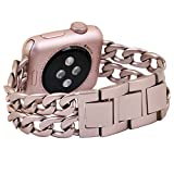 Apple Watch Armband, PUGO TOP Solides Edelstahl Cowboy Art Gliederarmband für Apple Watch Serie 2...