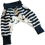 Atelier MiaMia - Pumphose Baby Kind von 56-92 Designer Babyhose Limitiert !! Mitwachshose Anker Maritim (74/80)