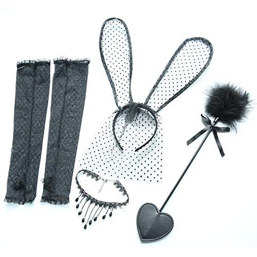 uliaadela Sexy Dessous Accessoires Feder Flirten Stick Spitze Hasenohren Stirnband Schlüsselbein Kette - Flirt Spitzen Kostüm