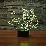 Lámpara 3D, EONANT Luces de Noche 3D LED USB Touch con 7 Luces de Escritorio de Iluminación óptica de Color para la Decoración de la Habitación de Los Niños (Cat)